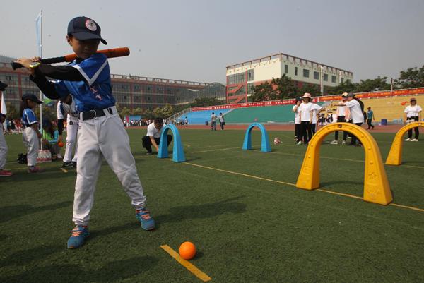 """垒球世界日软式棒垒球""""打进""""郑东新区校园斗牛犬v垒球图片"""