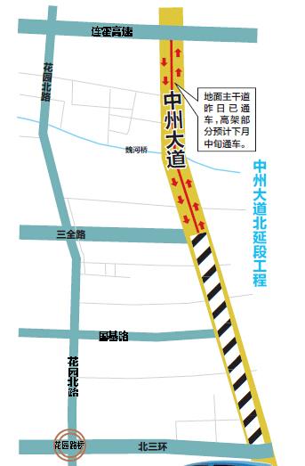 郑州中州大道高架桥11月中旬有望竣工 保通路将封闭图片